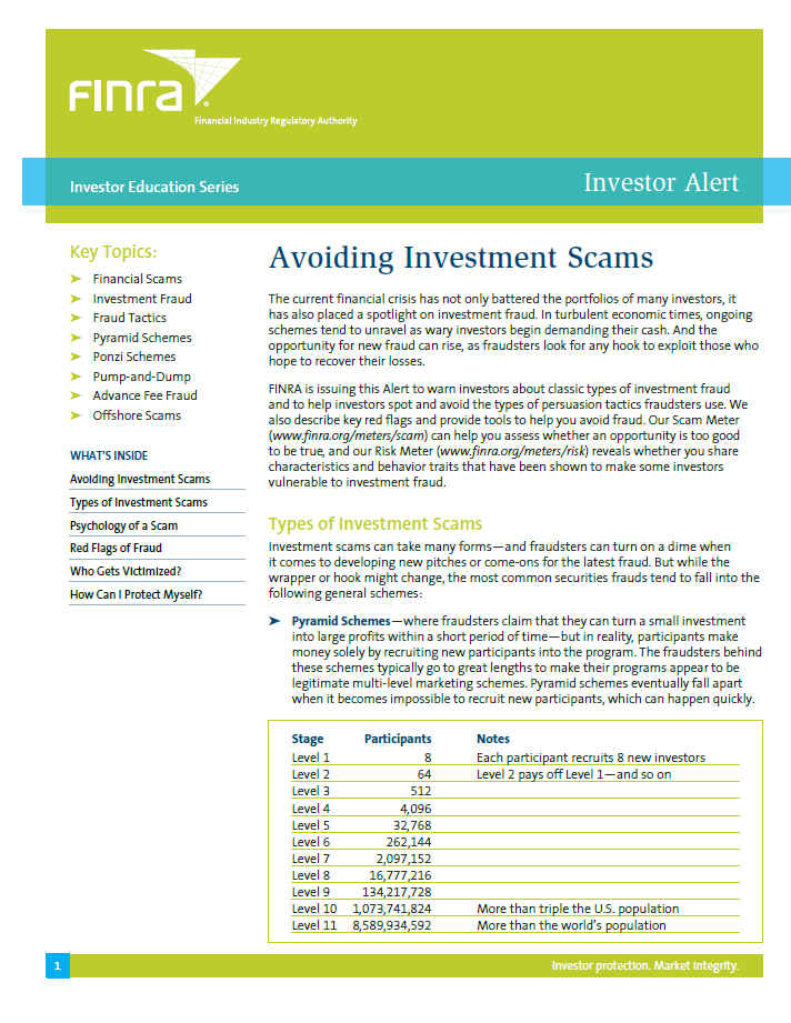 Avoiding Investment Scams Article by FINRA