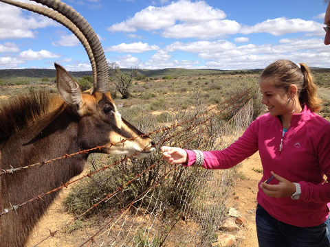 Picture of a girl feeding a sable