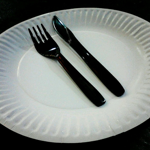 Paper Plate with Fork and Knife